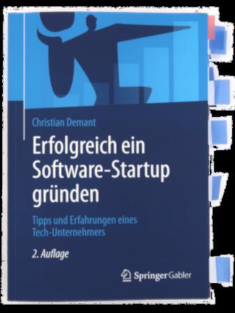 Fachbuch Erfolgreich ein Software-Startup gründen mit Markierungen, die aus dem Buch herausragen.