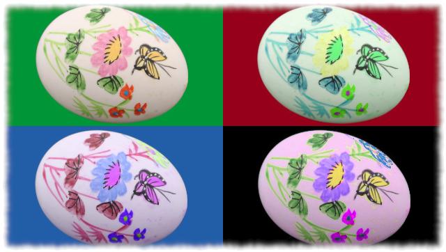 Collage mit vier farbigen Ostereiern