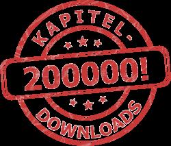 200000 Kapitel-Downloads symbolisiert als roter Stempel